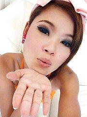 Really skinny and hot Thai teen Jasmine poses for photos