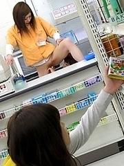 Japan Lesbian public sex in super-market