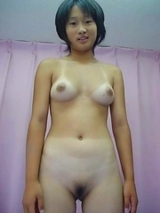 Amateur Oriental hotties show tits and pussy