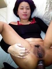 Hardcore Chinese chick enjoys wild threesome