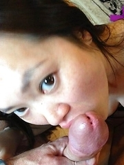 Thai babe gets breast-fucked and sucks cock